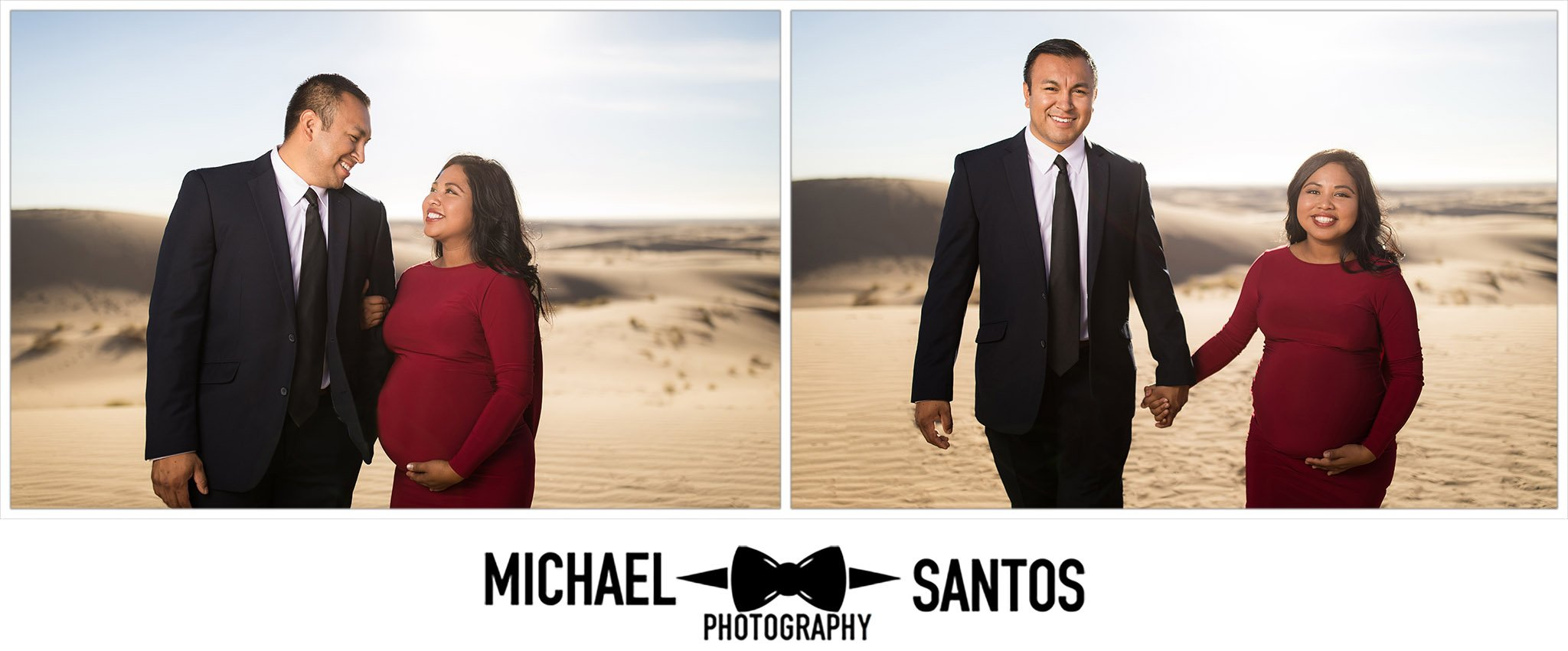 couple walking along glamis sand dunes for their maternity photos
