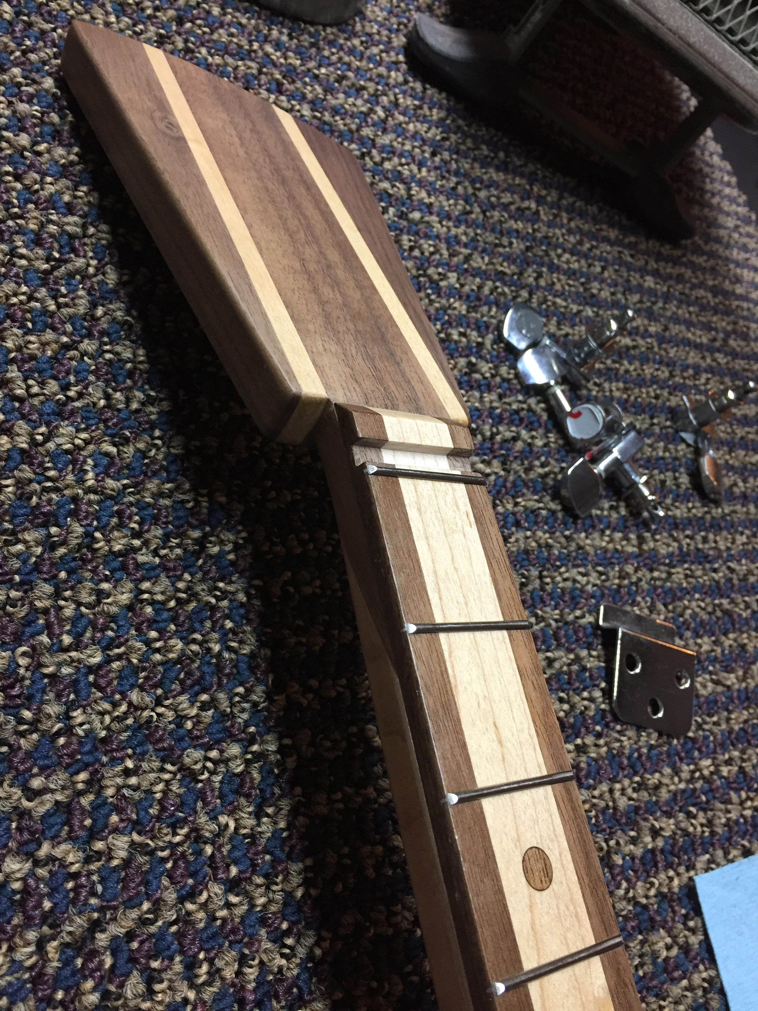 CLE Cigar Box Guitar Build - Fretting complete