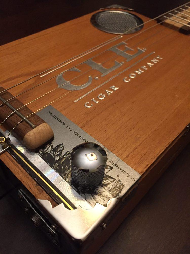 CLE Cigar Box Guitar Build - Close-up of body