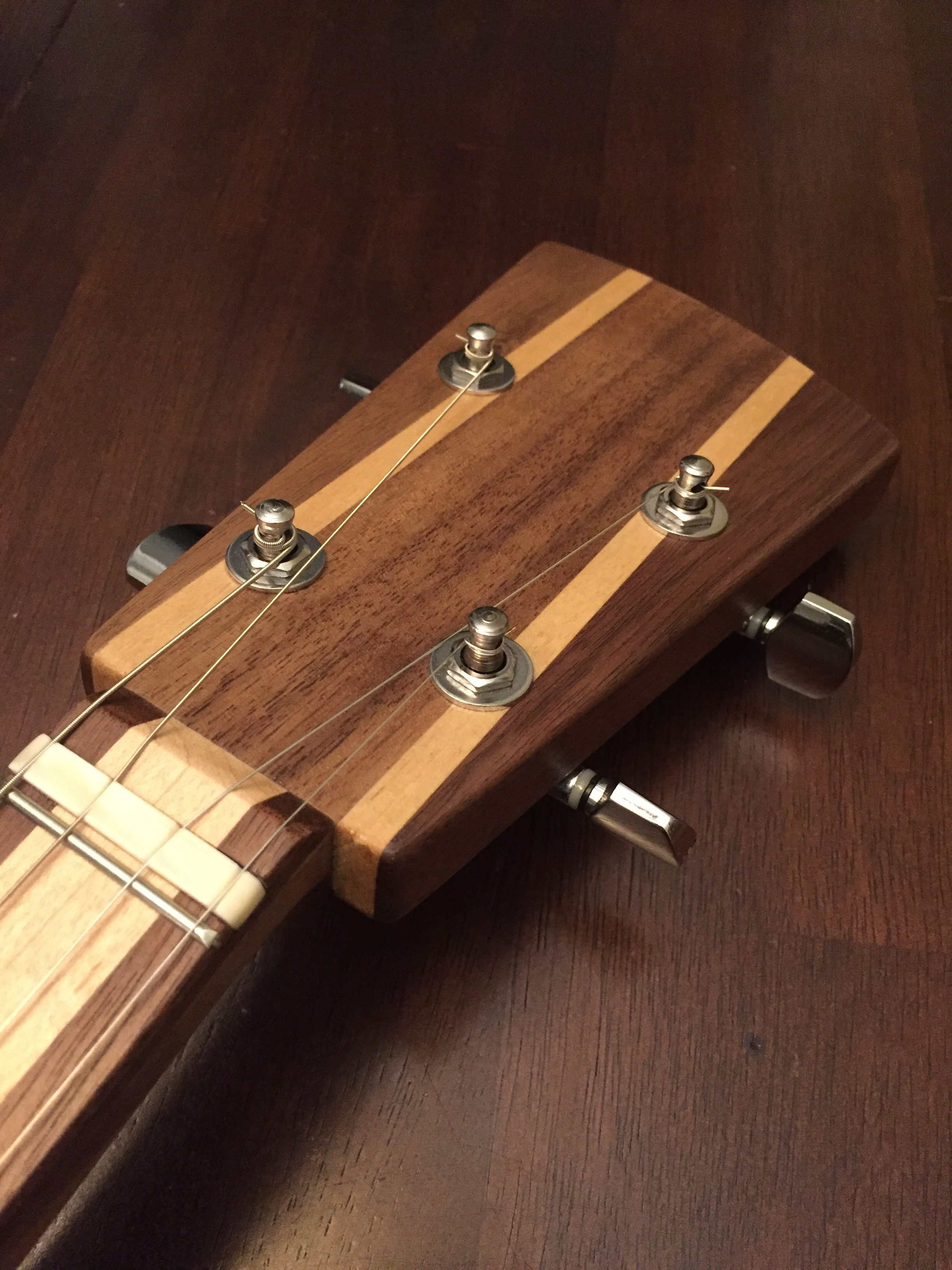 CLE Cigar Box Guitar Build - Headstock and tuning machines