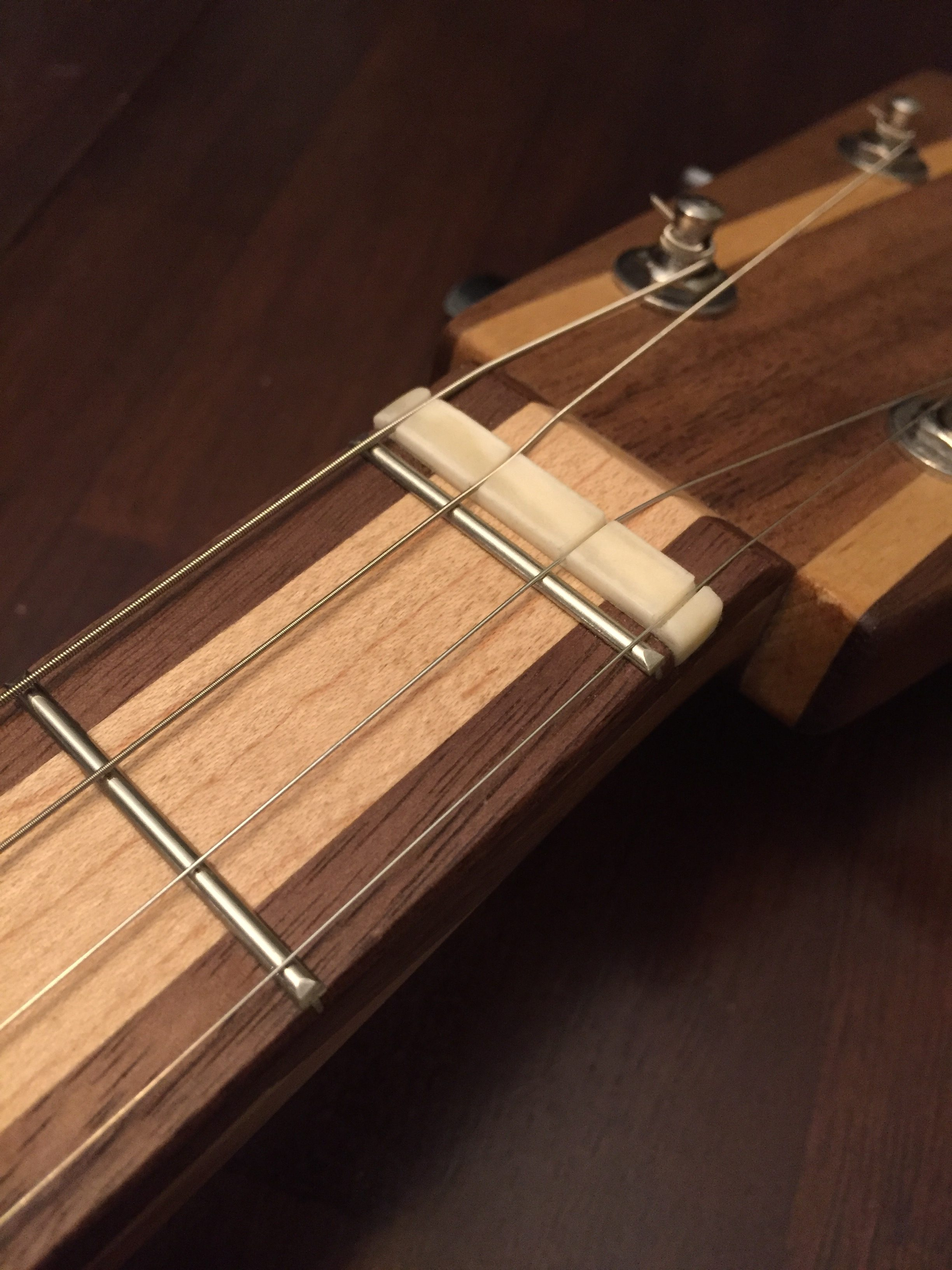 CLE Cigar Box Guitar Build - zero fret and nut close-up