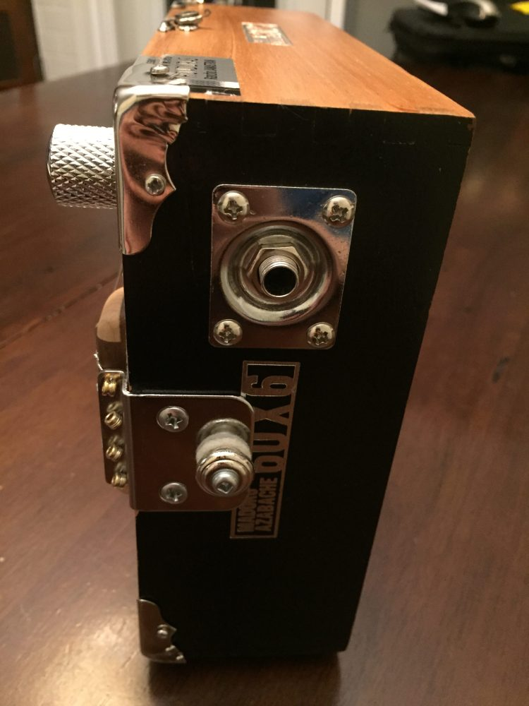 CLE Cigar Box Guitar Build - Instrument Jack and tailpiece detail