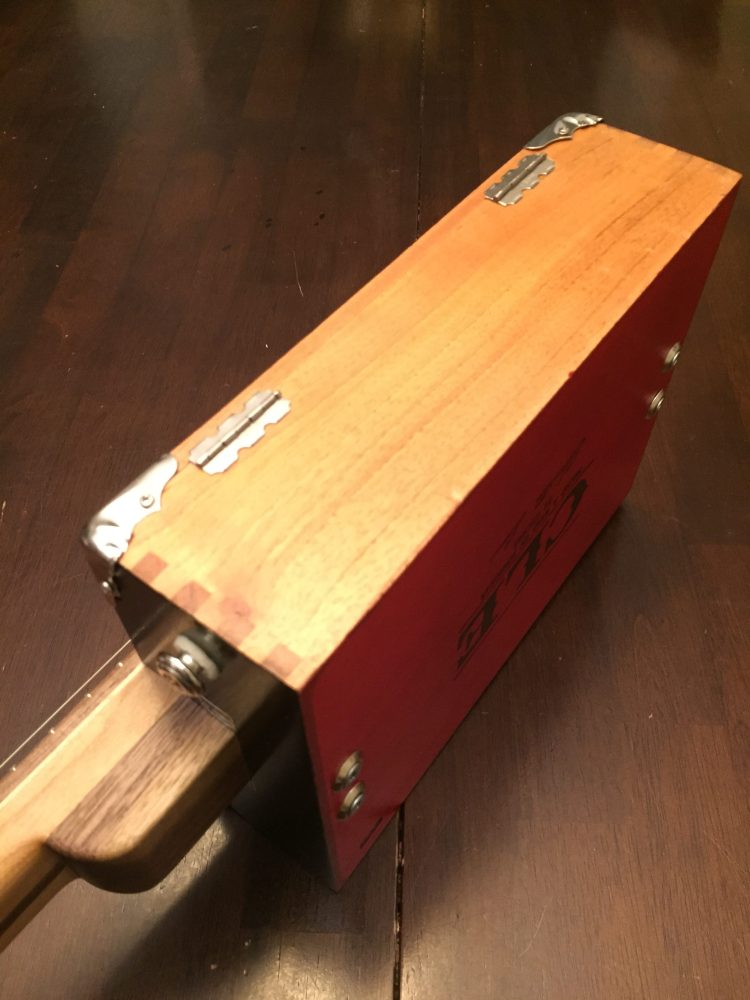 CLE Cigar Box Guitar Build - side and heel strap detail