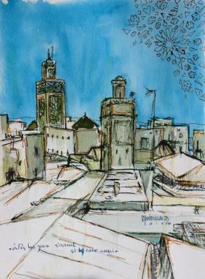 Michal Korman: Medina of Fes, ink on paper