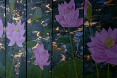 Michal Korman: Lotus flowers, oil on canvas 5 compositions 50x20 each, 2014 Paris