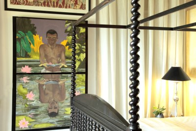 Michal Korman: Young Rama at the pond, oil on canvas, 2 compositions of 75x90 cm each, Weligama 2015, Eraeliya Villas and Gardens