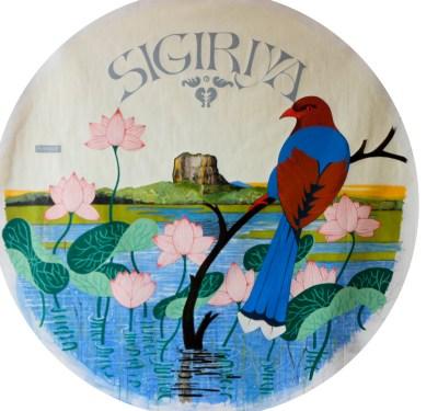 Michal Korman: Sigiriya (A Blue Magpie of Ceylon), oil on canvas, 100 cm diam., 2016 Paris, Eraeilya Villas and Gardens