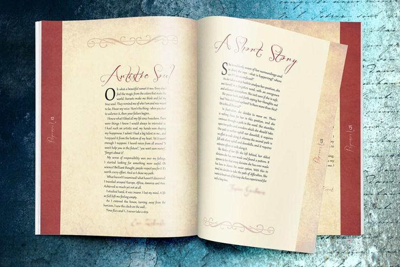 Poems an short stories book design