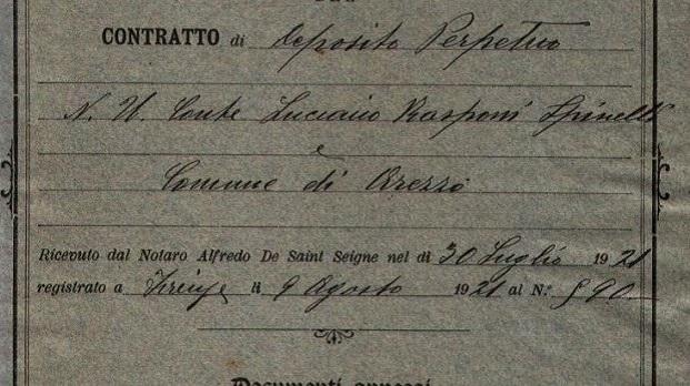 1921 – Contratto di Deposito presso Casa Vasari