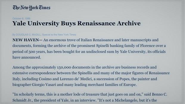 1988 – L'Università di Yale acquista l'Archivio Rasponi Spinelli