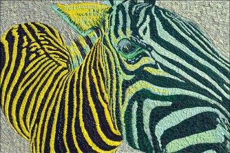 Zebre -Micro-collages 20 x 30cm - VENDU