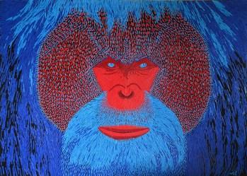 Orang outan - Micro-collages 50x70 cm - 2800€