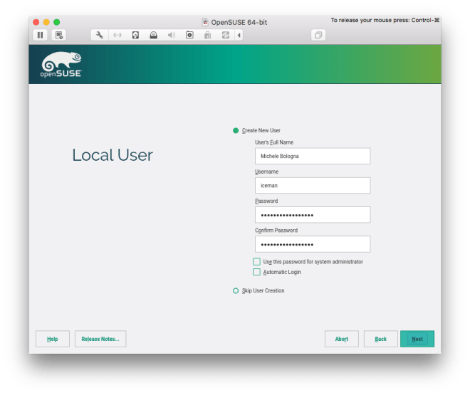 local user creation