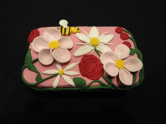 Polymer Clay Tin Bees and Flowers