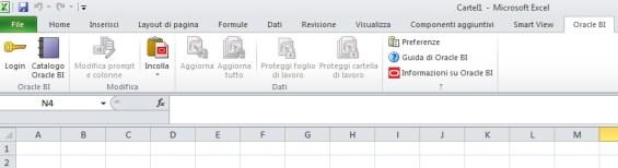 Menu del plug-in OBI in Excel