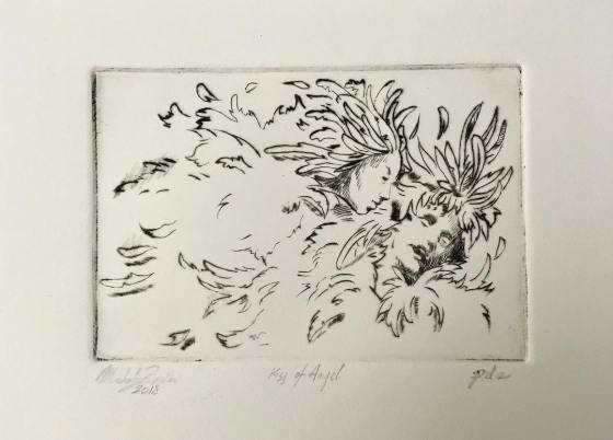 Kiss of Angel - Drypoint Engraving - 2018 -15X10 cm