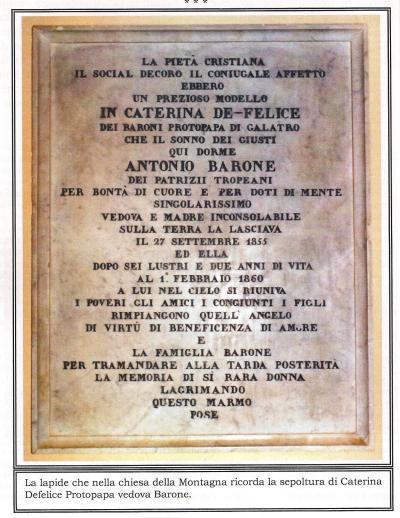 Lapide nella chiesa che ricorda la sepoltura di Caterina Defelice Protopapa vedova Barone
