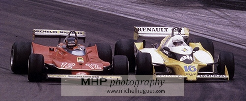 HISTORICAL MOMENT IN F1: the famous duel Gilles Villeneuve-René Arnoux at the 1979 French GP on the Dijon-Prenois circuit - Copyright Photo MH - www.michelhugues.com