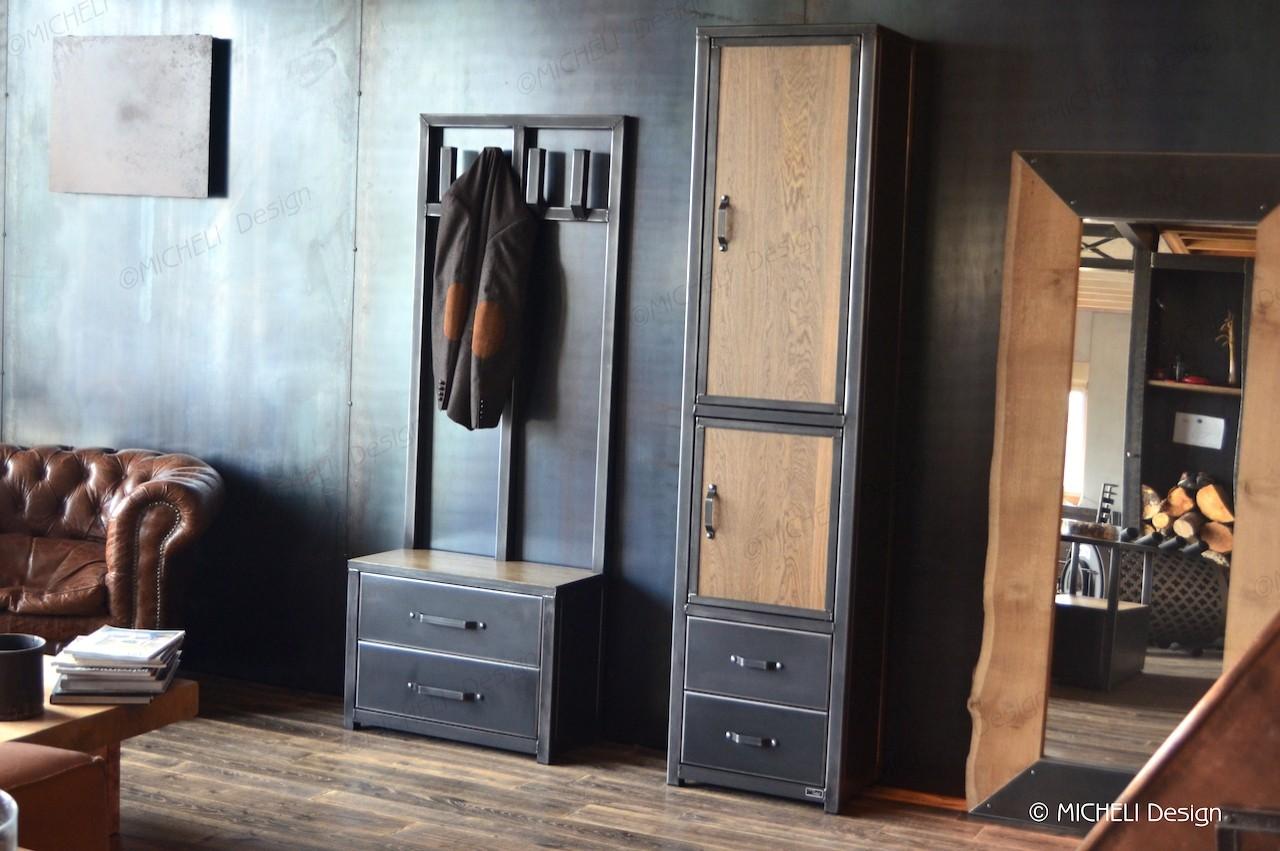 colonne de rangement en bois metal noir