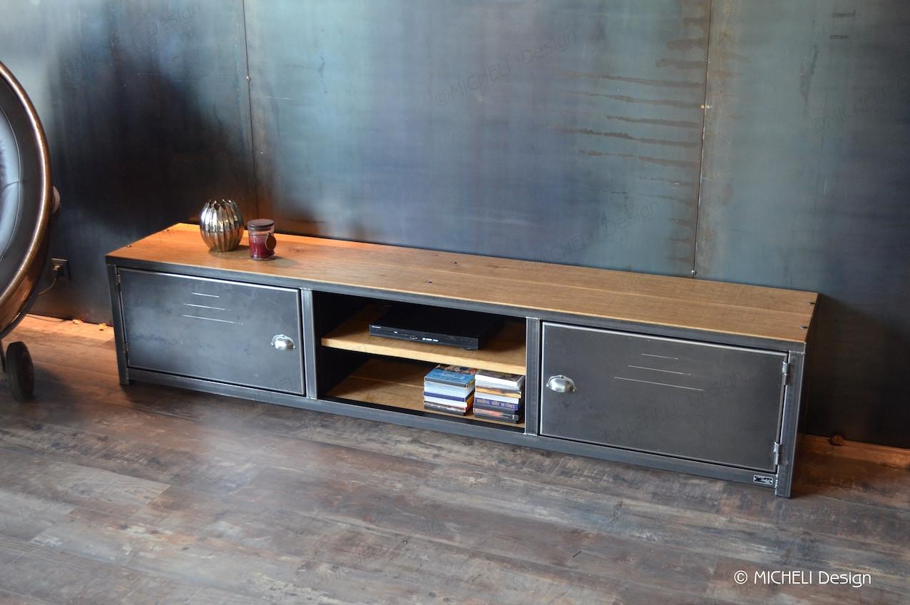 meuble tv industriel sur mesure de