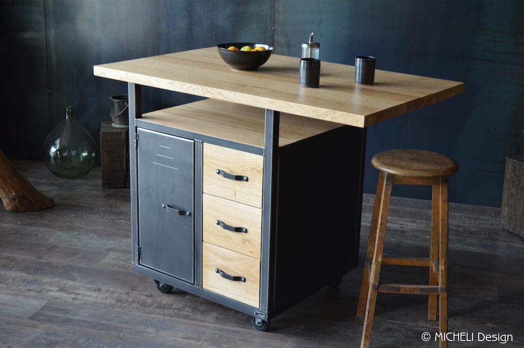 petit ilot de cuisine en bois et metal