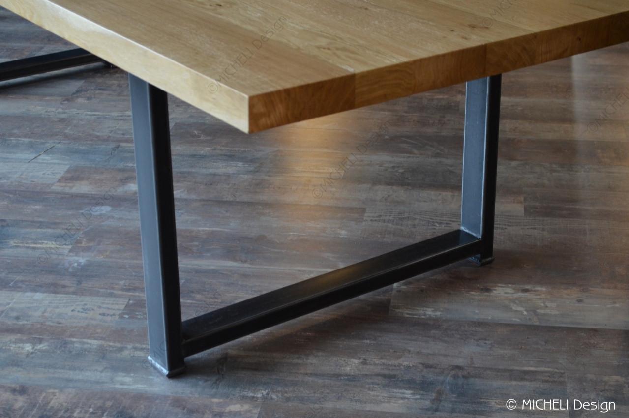 table a manger en bois et metal noir 12