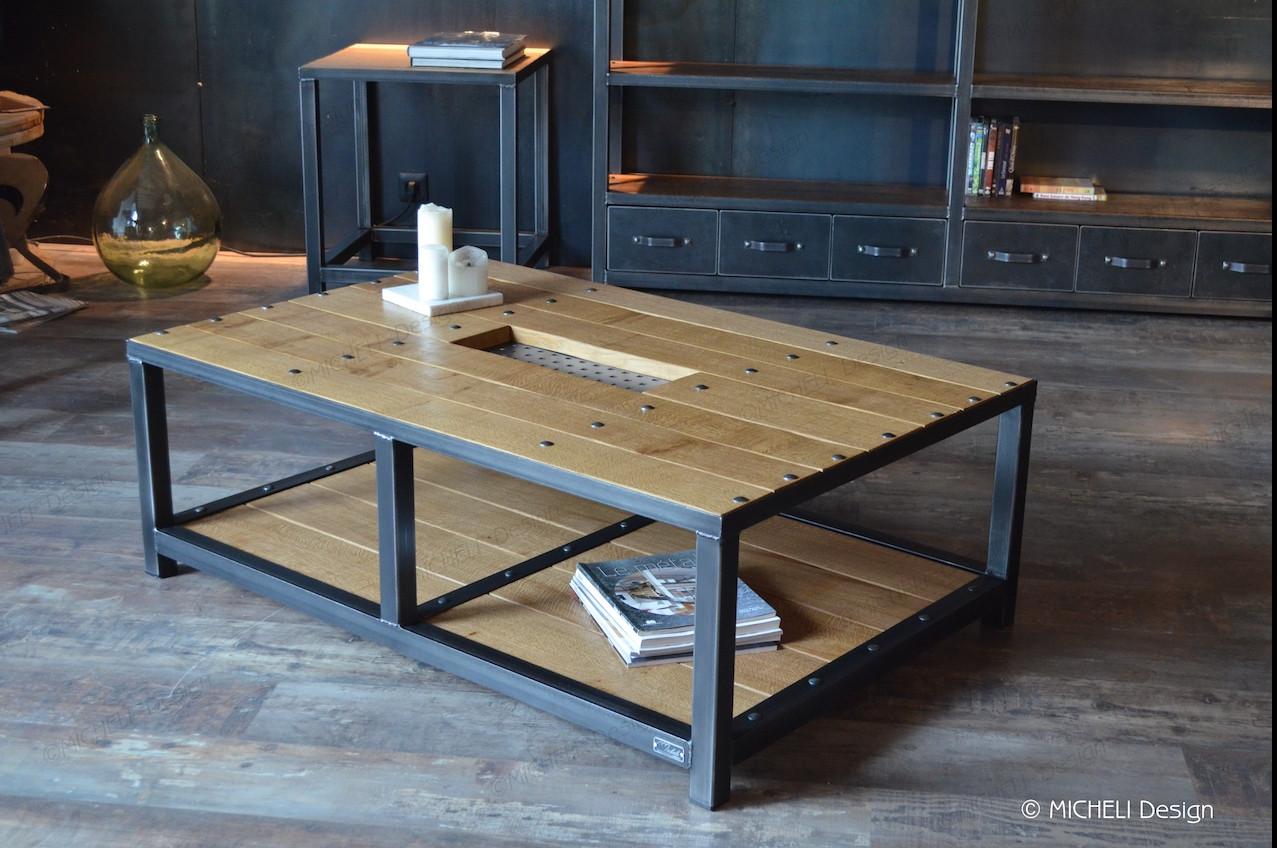 table basse sur mesure bois et metal a