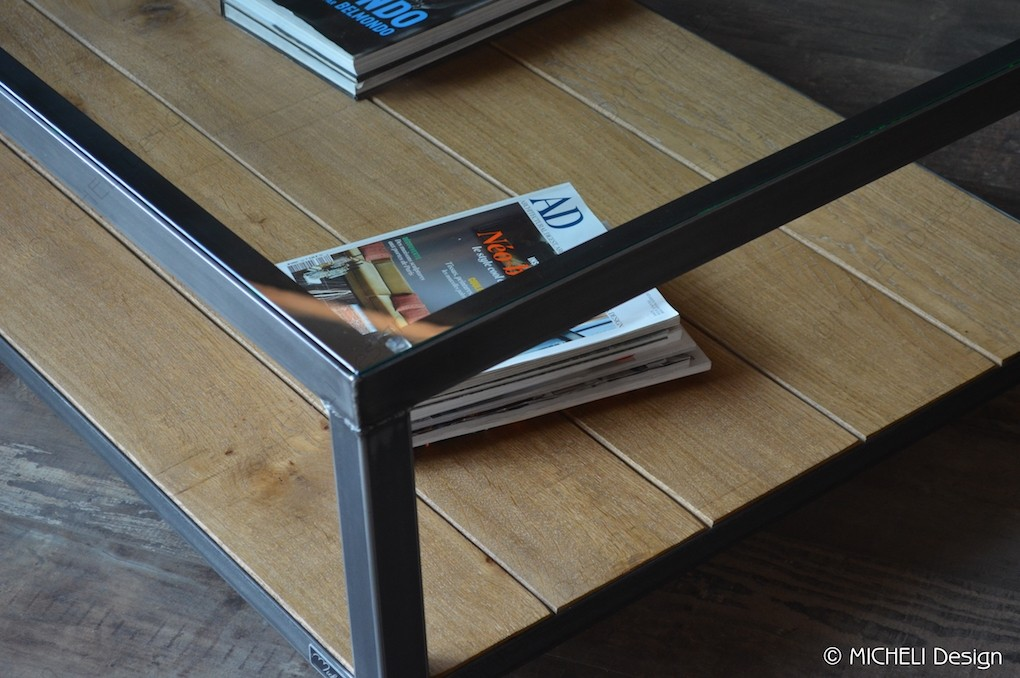 table basse design en verre bois et