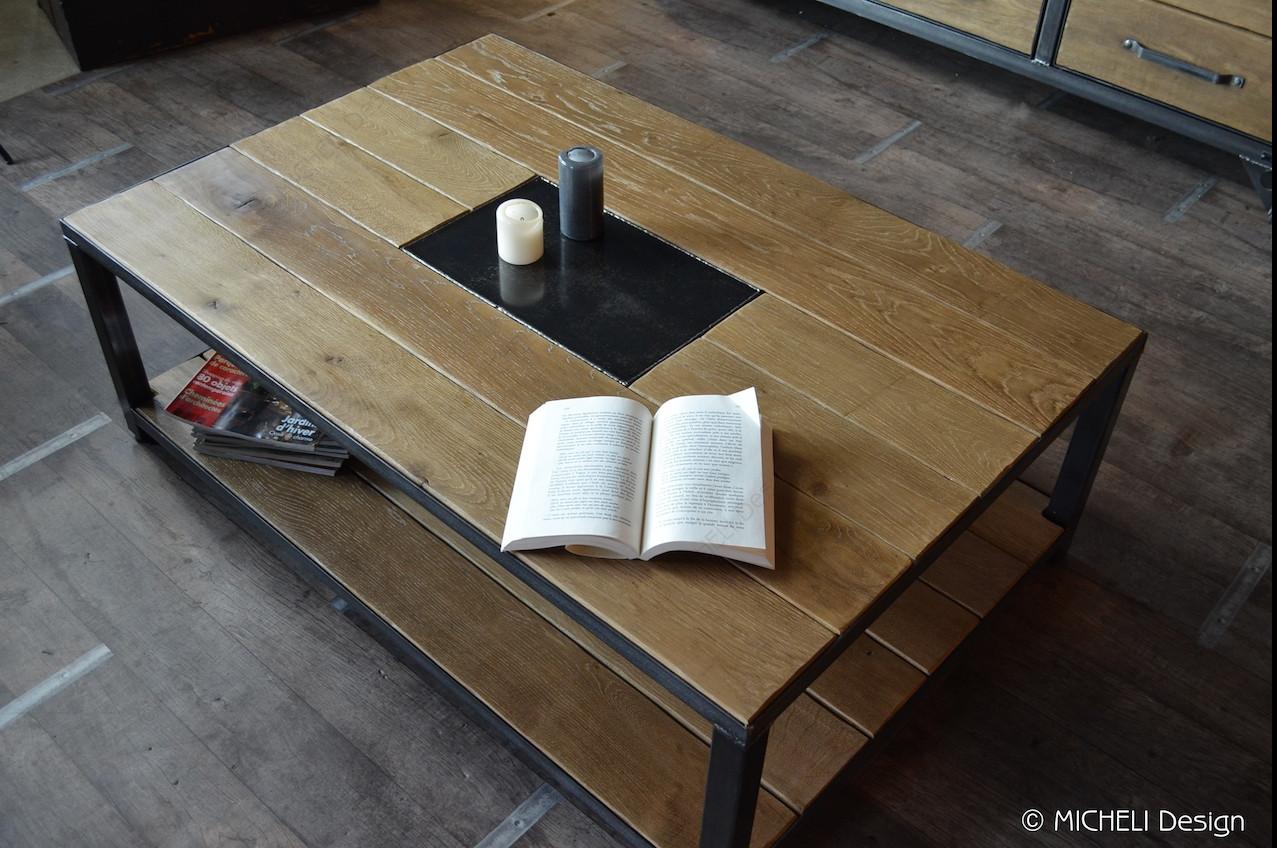 table basse industrielle bois et metal