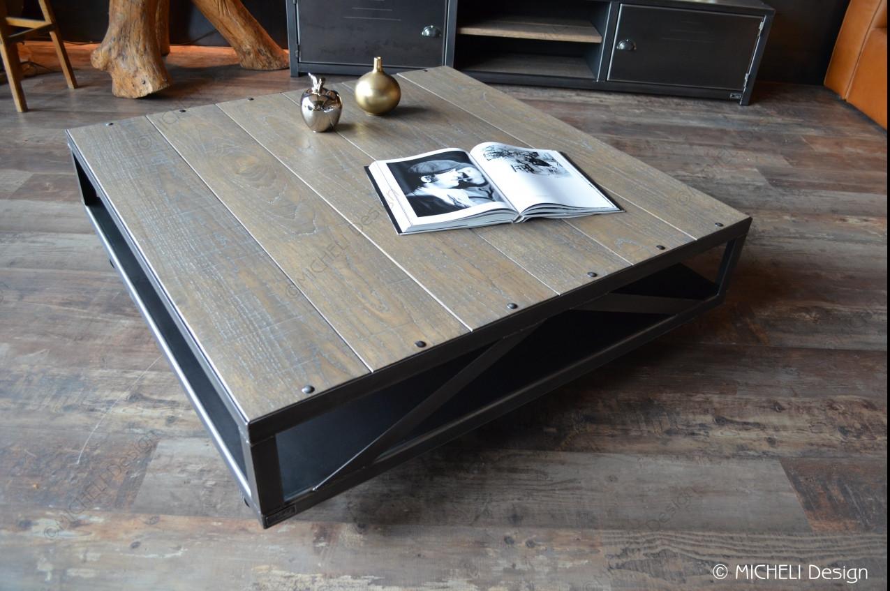 table basse industrielle a roulettes en