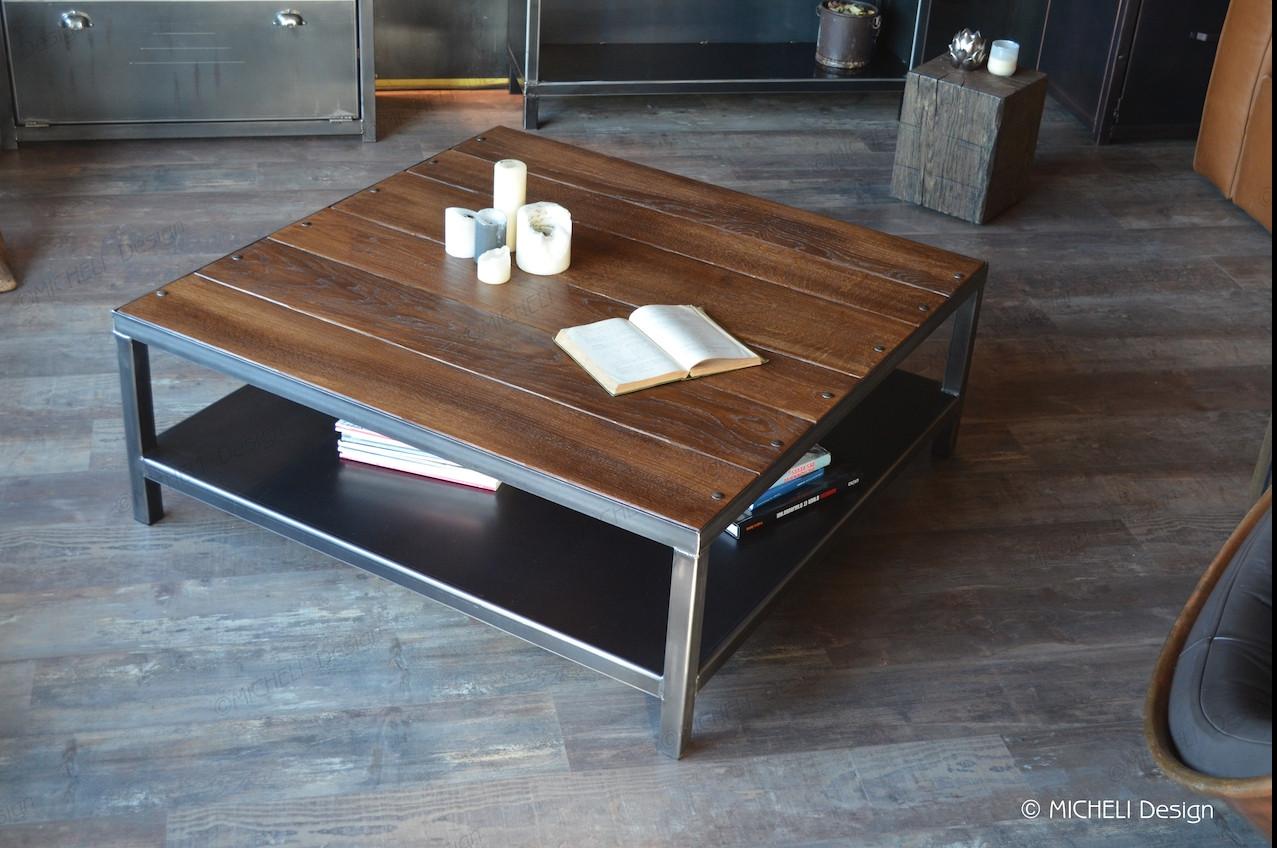 table basse industrielle carree en bois