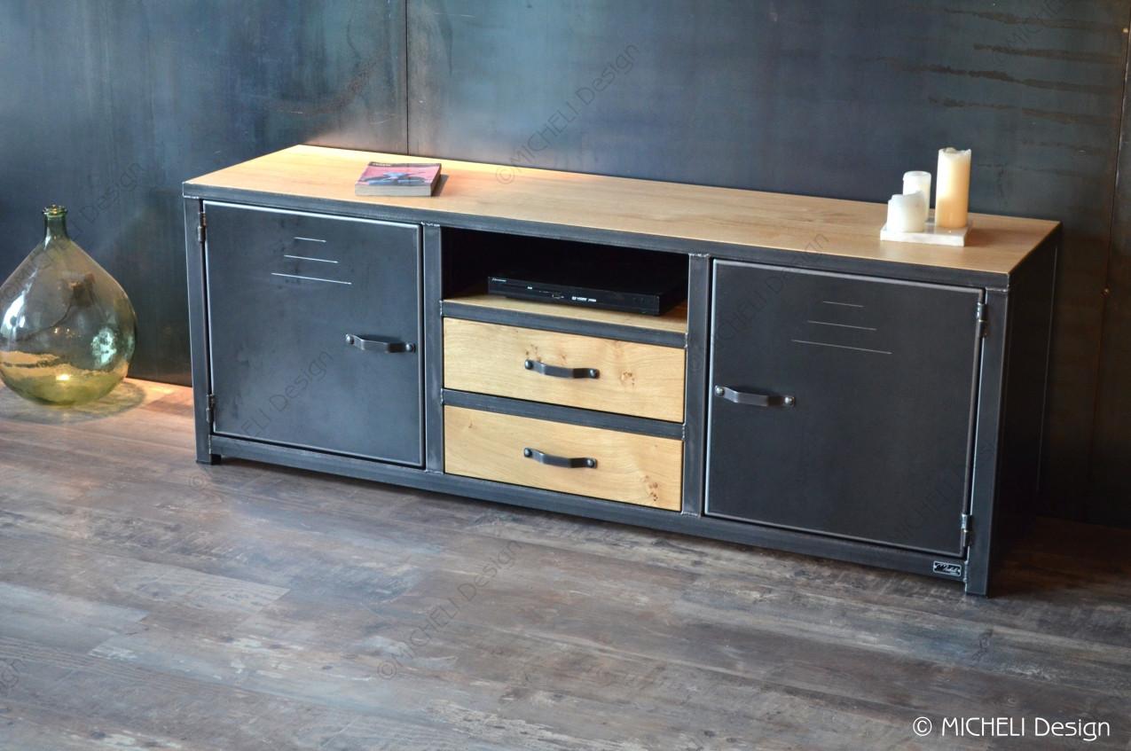 meuble tv bois metal industriel 2