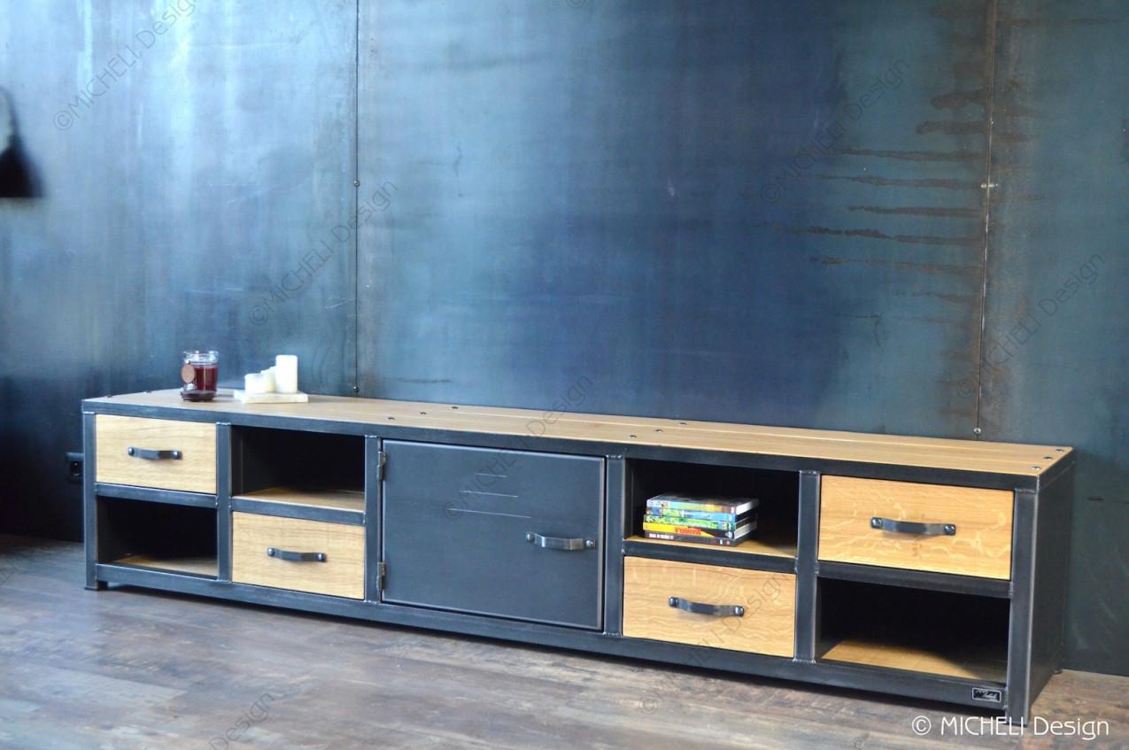 meuble tv industriel 4 tiroirs 4 niches