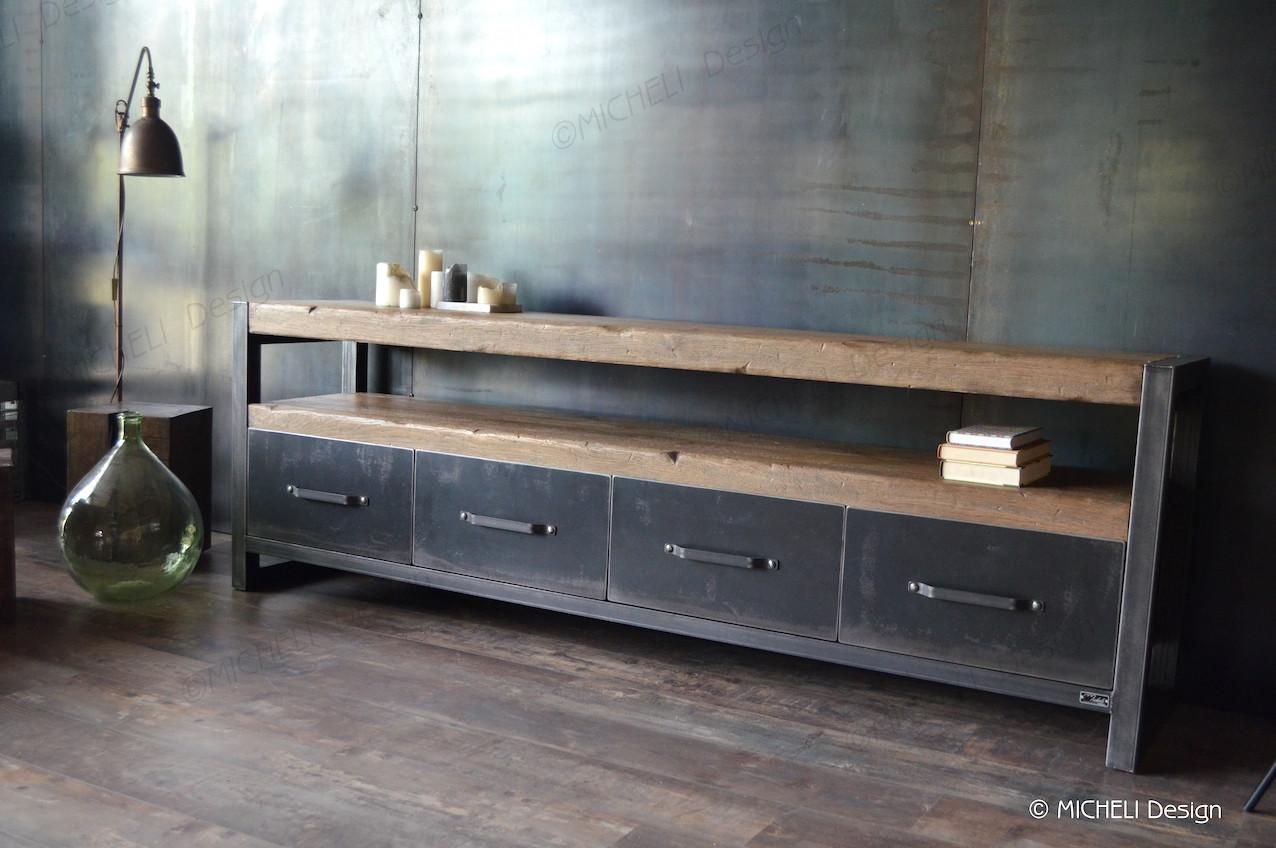 meuble tv industriel plateau bois
