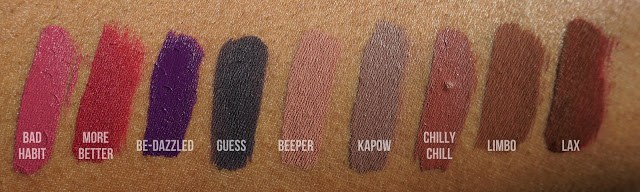 Liquid Lipsticks swatched on brown skin