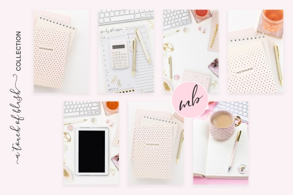 Pink & White Desktop Collection Styled Stock Photography