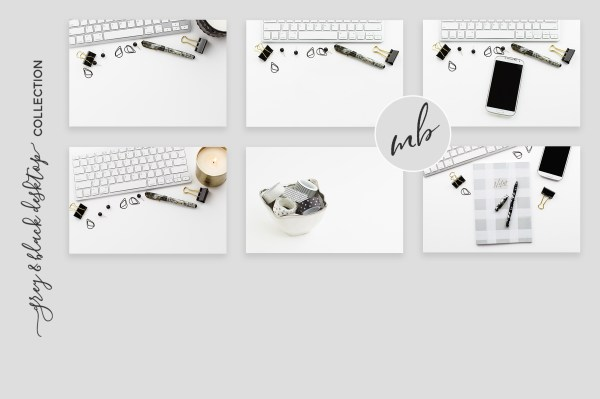 Grey & Black Desktop Bundle Styled Stock Photography