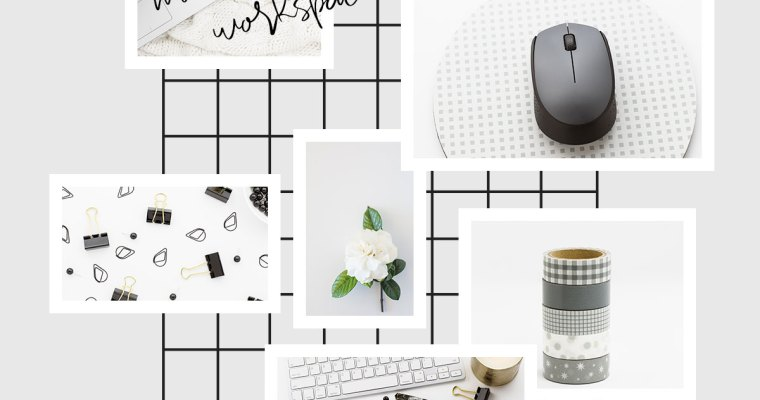 Mood Board Monday. Monochrome Workspace featuring images with grey, black and white office and desktop items. Styled stock photos available from Michelle Buchanan Photography and Design.