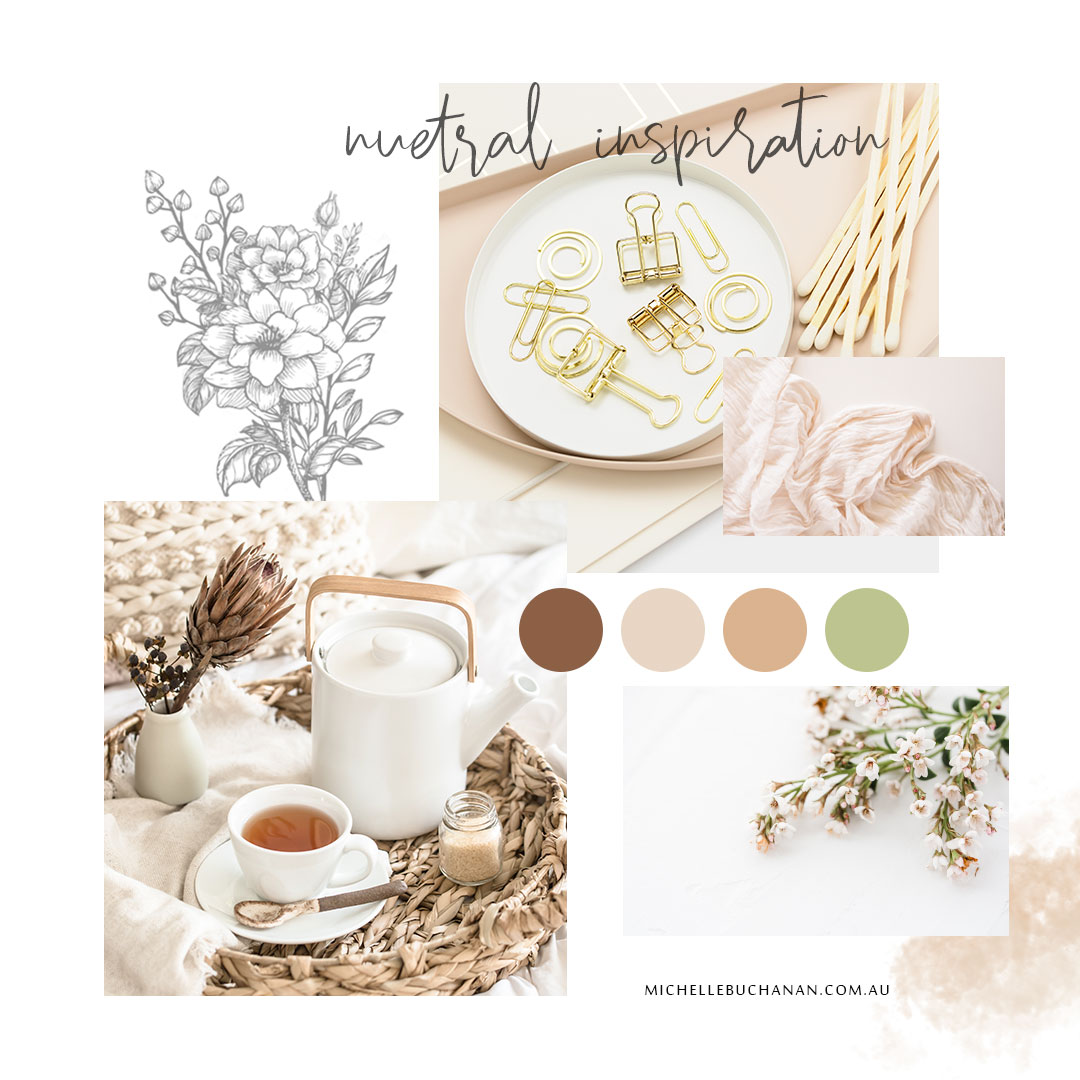 Neutral inspiration mood board by Michelle Buchanan Photography and Design