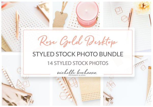 Rose Gold Desktop Styled Stock Photo Bundle - 14 styled stock photos by Michelle Buchanan Photography & Design - MBPD Stock Shop