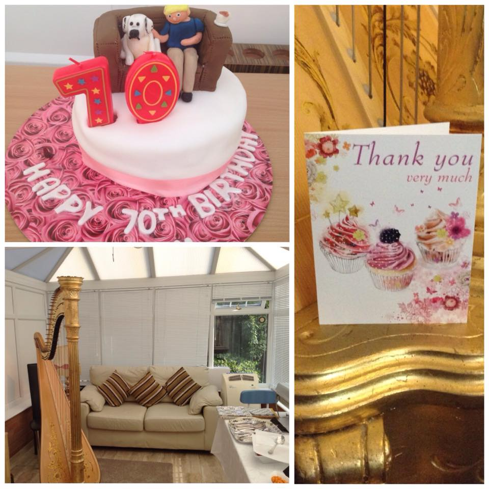 Brenda in Sutton Coldfield celebrated her 70th birthday with harp music by Birmingham harpist Michelle Dalton