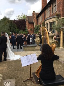 Wedding Harpist for outdoor reception at Moxhull Hall