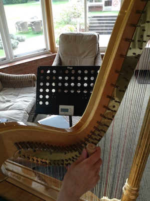 harp being tuned