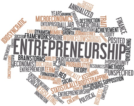 16414304 - abstract word cloud for entrepreneurship with related tags and terms