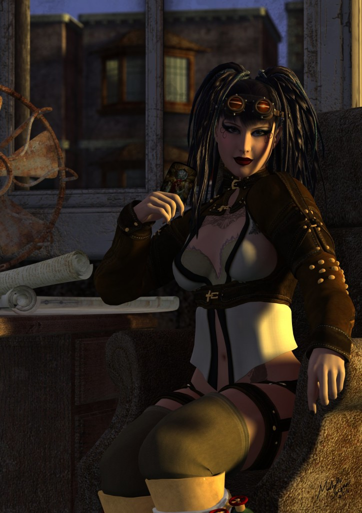 An original steampunk image from the mind of Michelle Iacona, featuring a self-inspired Tarot Reader contemplating The Empress card from the Steampunk Tarot by John and Caitlin Matthews.