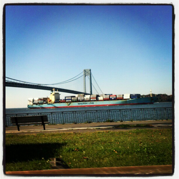 Shipping by the Verrazano #ships #NYC #Brooklyn