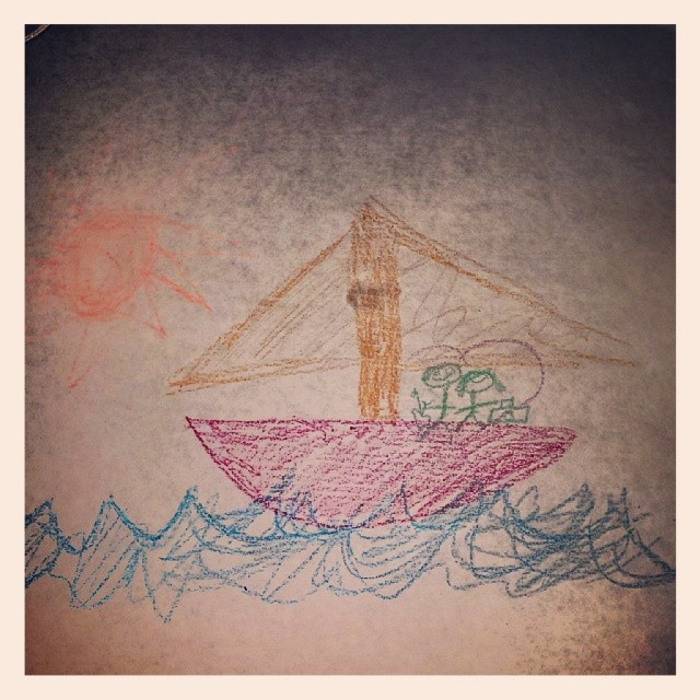 My masterpiece in #crayon #drawing #art #sailboat #sun #fun