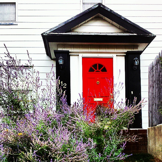 Love the color combo on this house #queens #newyorkcity #architecture #red #lavender #beautiful