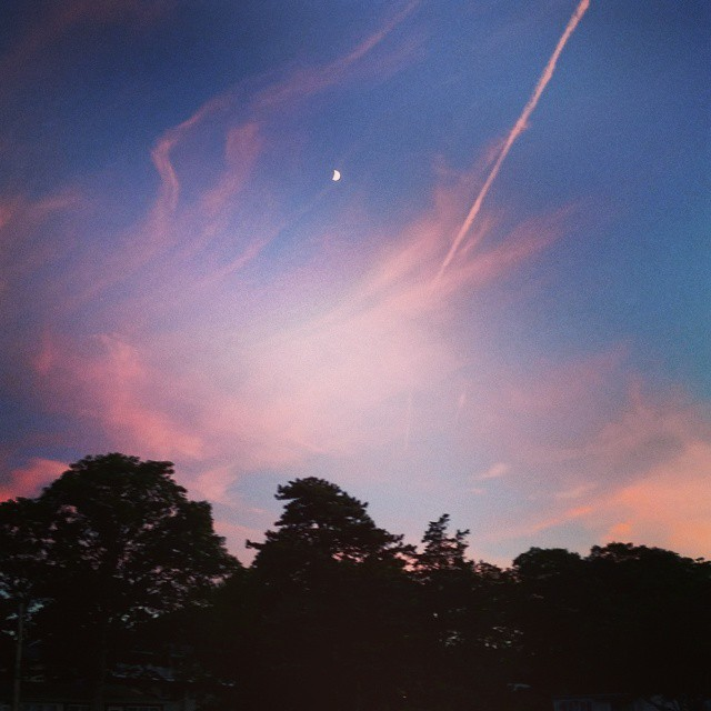 #Red #Sky At #Night, #Sailors Take Flight #longisland #hamptonbays #moon