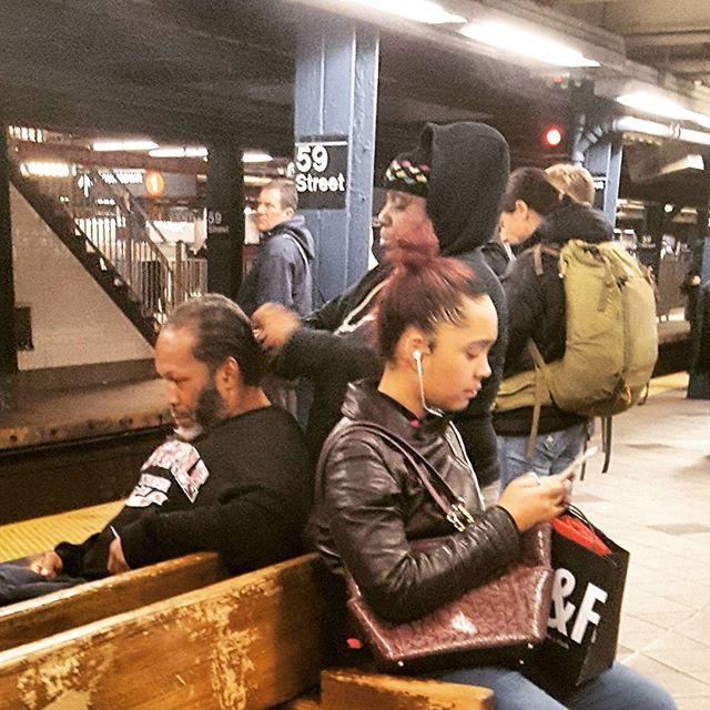 Beauty Salon or Subway Station ?  You choose. #mta #subway #gettinghishairdid #newyork #nyc #really